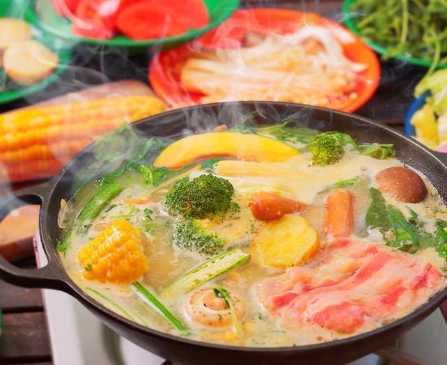 クリーミーコーンスープで「シチュー鍋」